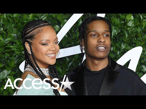 Rihanna Slays In Leg-Baring Satin Alongside A$AP Rocky At British Fashion Awards