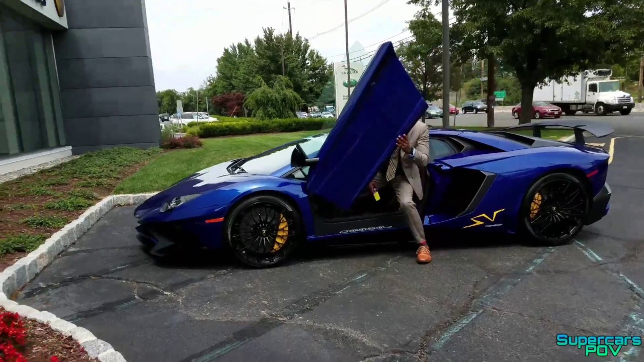 Blue Lamborghini Aventador Sv Engine Start Accelerations And Revs