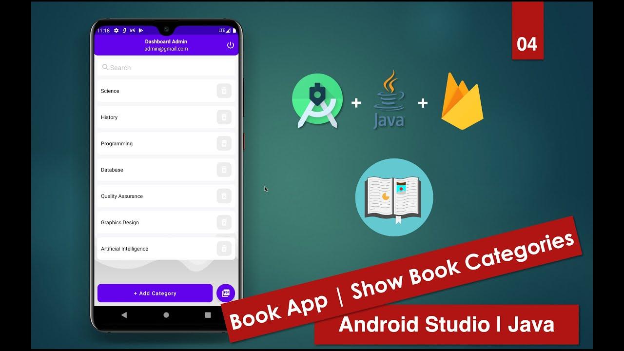 Book App Firebase   04 Show Book Categories   Android Studio   Java