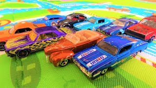 OLD SCHOOL AND MUSCLE CARS JUMP INTO THE WATER - TOY CARS FOR KIDS