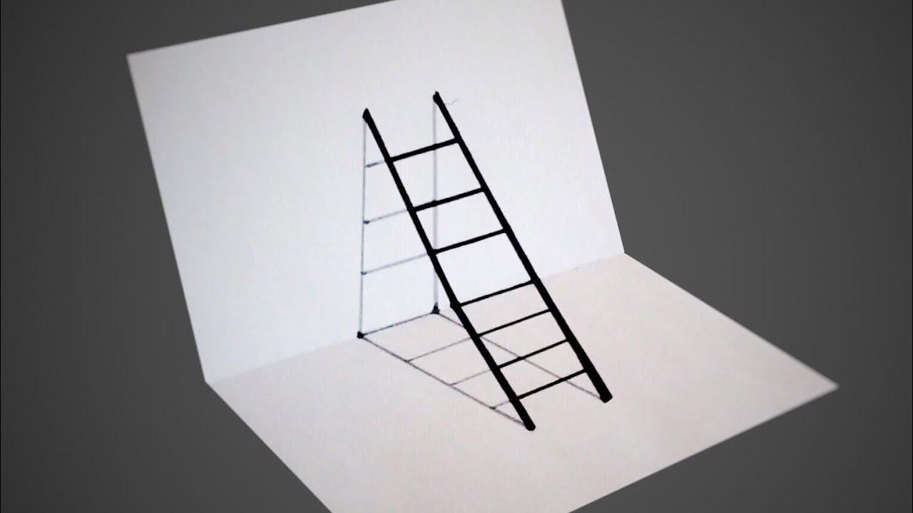 طريقة رسم سلم ثلاثي الأبعاد سهل جدا 3d Draw Youtube