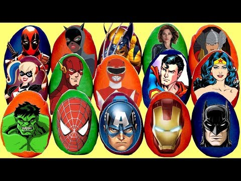 LOTS of SUPERHERO & VILLAINS Play-doh Surprise Eggs, Spiderman Ironman Batman In Real Life IRL /TUYC