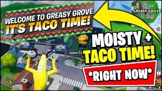 *NEW* GREASY GROVE (IT'S TACO TIME) & MOISTY PALMS (CROUCH TO PROP) GAMEPLAY (Fortnite Rift Zone)
