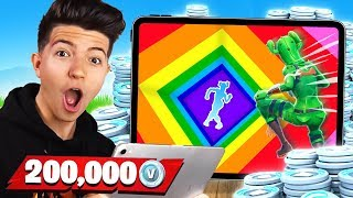 I Get 200K VBUCKS if I Win this 1v1 Rainbow Dropper on Mobile!