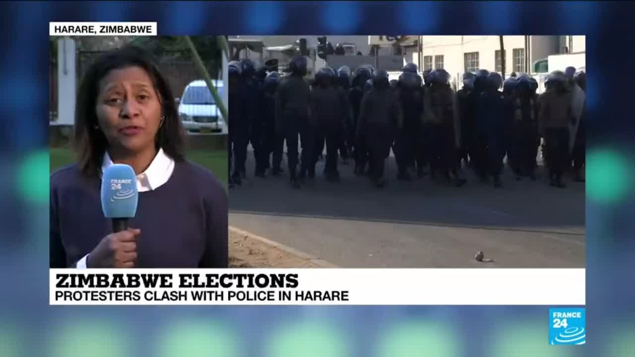 Zimbabwe elections: Protesters clash with police in Harare.
