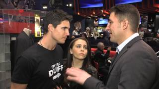 """The Duff"" Stars Robbie Amell & Mae Whitman at Planet Hollywood with BTVRtv's Arthur Kade"