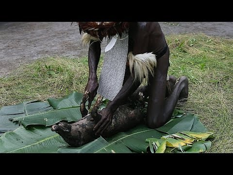 Pig cooked by Dani tribesmen - Baliem Valley, Papua province, island of New Guinea