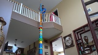 BUILDING THE WORLDS TALLEST LEGO TOWER!! ( 25 FEET ) | MAMA RUG AND PAPA RUG