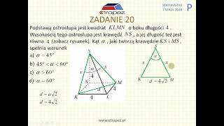 [Zadanie 20] Matura z matematyki poziom podstawowy. Maj 2018.