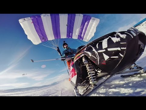 Video: Flying a Snowmobile Off a Mountain in Sweden