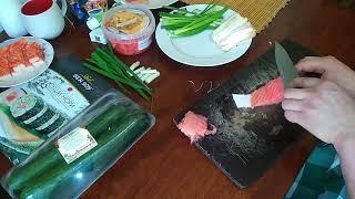 ✓Мини обзор продуктов для суши.Варим рис.Делаем нарезки для суши.