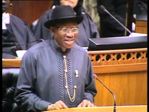 President of Nigeria: HE Mr Goodluck Ebele Jonathan's Address to the Parliament of RSA