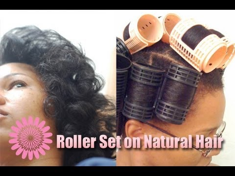Roller Set On Natural Hair Using Magnetic Rollers