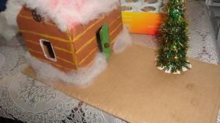 Поделка на Новый год.Домик с Ёлочкой из картона своими руками.(Это видео создано в редакторе слайд-шоу YouTube: http://www.youtube.com/upload., 2016-12-10T14:22:25.000Z)