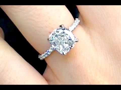 3 Carat Cushion Cut Diamond Engagement Ring Youtube