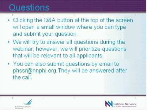 Public Health Services and Systems Research Applicant Web Conference 2011