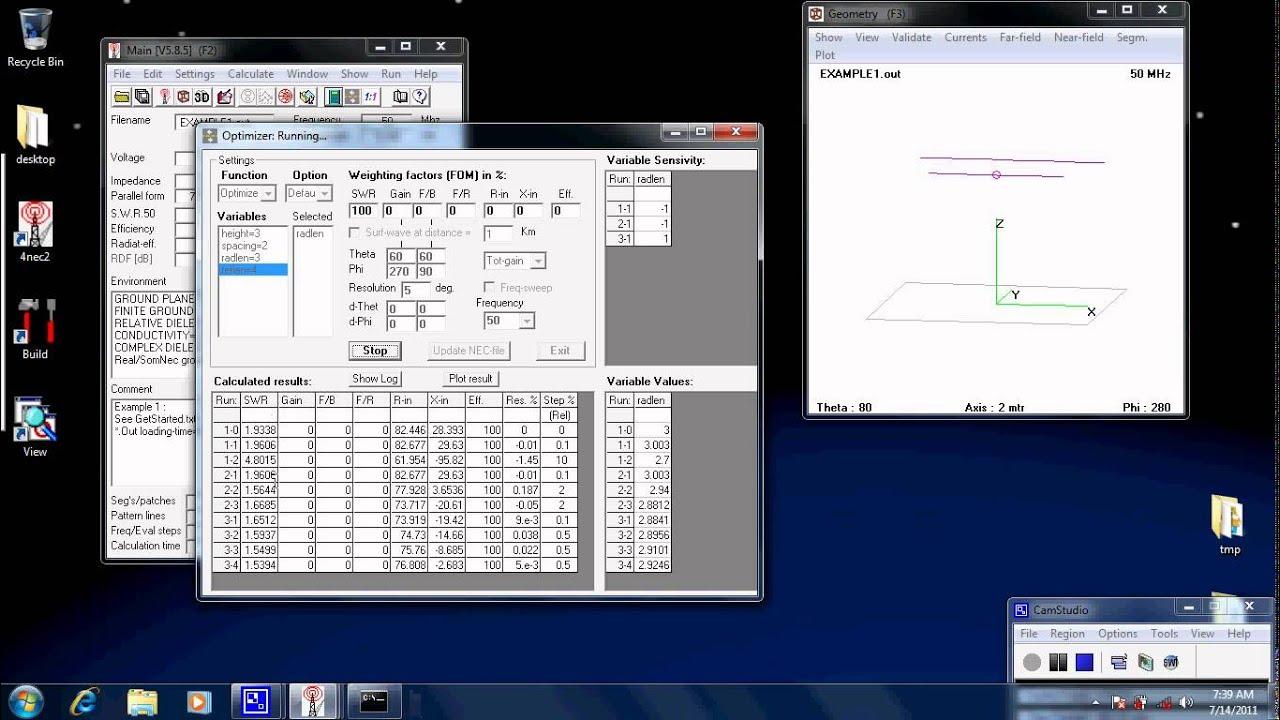 Antenna simulation tutorial 3 - 4NEC2 optimiser and impedance matching