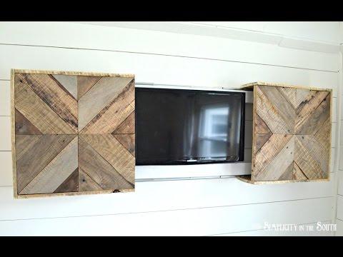 DIY Reclaimed Wood Sliding TV Cover