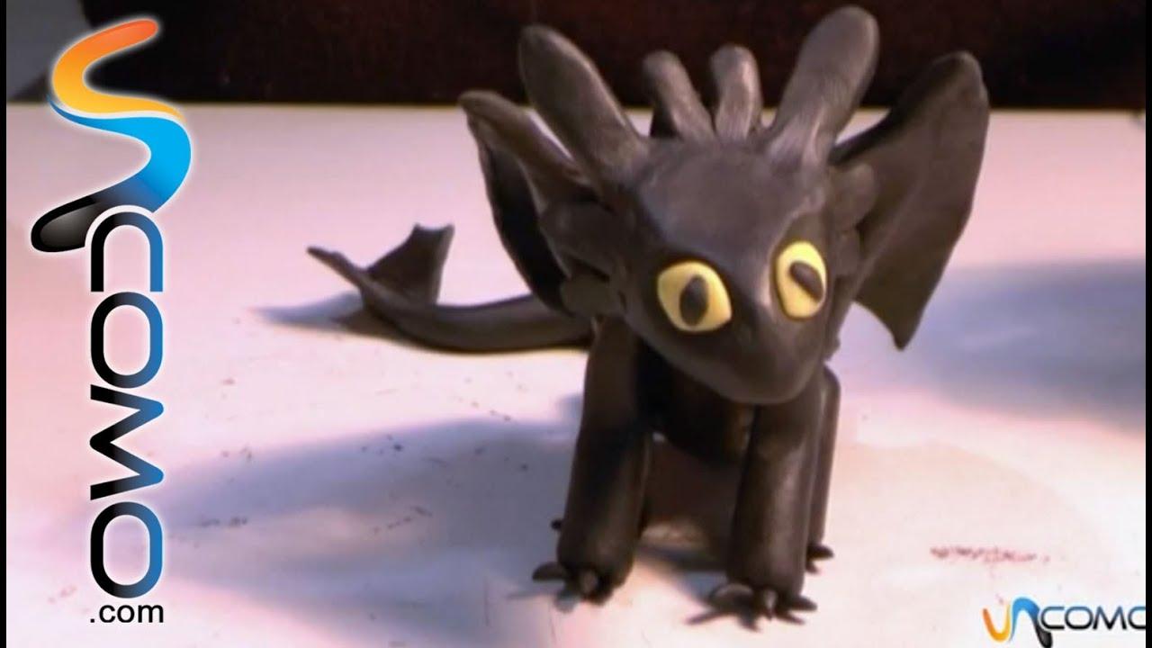 Cómo hacer el dragón Furia Nocturna con plastilina - YouTube
