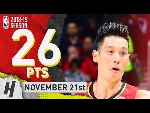 Jeremy Lin Full Highlights Hawks vs Raptors 2018.11.21 - 26 Pts, 4 Threes, LINSANITY!