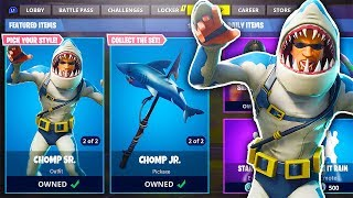 "'NOUVEAU' GRATUIT ""Chomp Sr ' Chomp Jr"" SKINS in Fortnite SEASON 5 SKINS GAMEPLAY (Fortnite Battle Royale)"