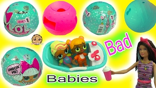 Barbie Doll Babysits Bad Babies - LOL 7 Layer Surprise Blind Bag Baby Balls Cry? Color Change?