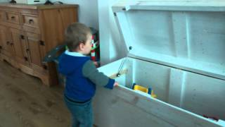 Homemade wooden toy box from old pallets.