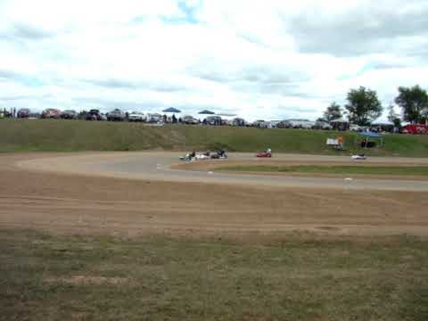 Rice Lake Speedway Kart Track, 8-24-2019. Finish of Heat 1.