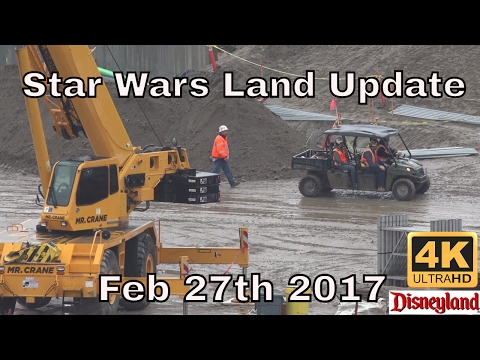 4K | Star Wars Land | Rainey Day Construction Update At Disneyland 2-27-2017