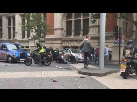 Car hits pedestrians near London museum