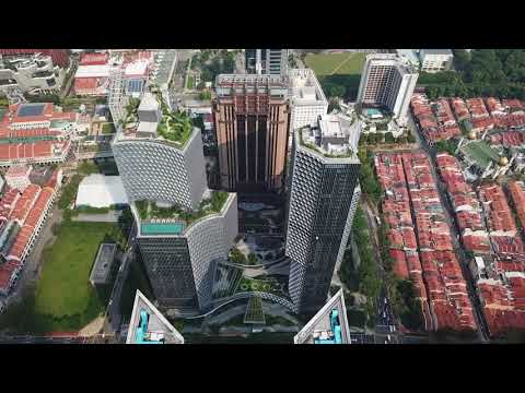 Honeycomb-patterned towers by Büro Ole Scheeren frame gardens in Singapore