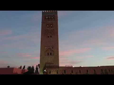 Maghrib prayer call in Marrakech by the Koutoubia Mosque