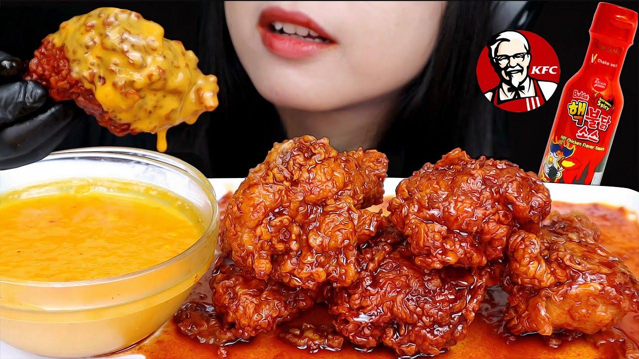 GOKIL! ASMR KFC SAMYANG SPICY CHICKEN with CREAMY CHEESE SAUCE 🔥 MUKBANG EATING SOUNDS