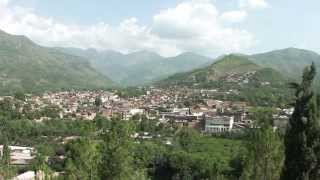 SWAT VALLEY with RIVER fruits trees and high speed flowing river water 17 JULY 2011 PAKISTAN