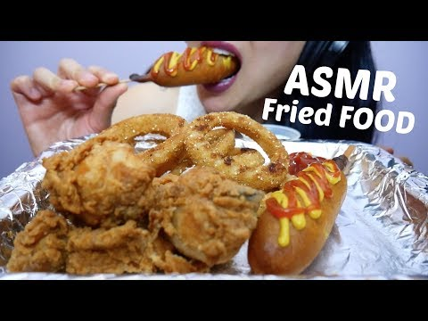 ASMR ULTIMATE Fried FOOD (Onion Rings, Fried Chicken + Corndogs) NO TALKING EATING SOUNDS   SAS-ASMR