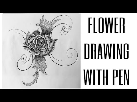 Flower Drawing with Pen   Rose Sketch thumbnail