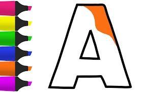 Mewarnai dan menggambar Huruf ABC Alphabet untuk Anak anak balita  Melukis dan belajar warna 1