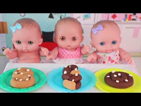 Куклы Пупсики Лепим и Выпекаем Сладкие Булочки из Плей До/Играем в Игрушки и Куклы/Зырики ТВ