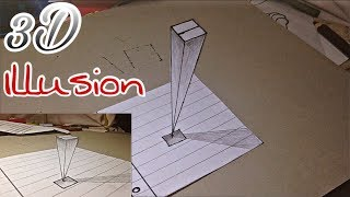 3D paper illusion drawing _ How to draw 3d illusion step by step