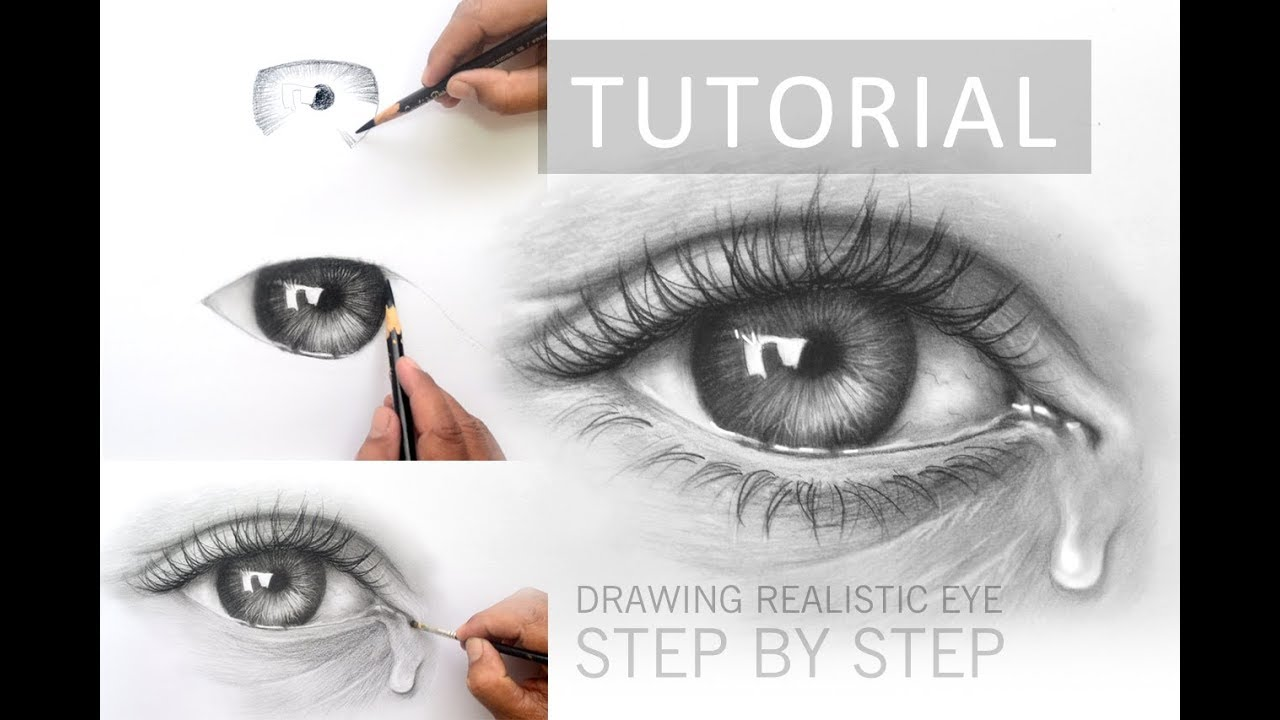 How to draw a realistic eye with charcoal pencil step by step tutorial