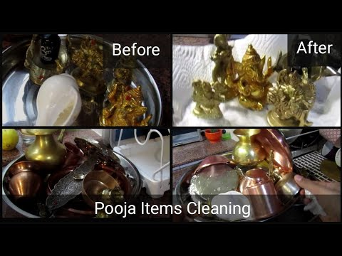 How to clean brass,bronze and copper Pooja Items at home/Easy way to clean Pooja Items