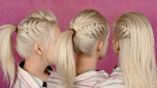Back to school hairstyles for everyday: braided half updo and ponytail party hair tutorial