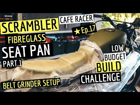 How to build a Cafe Racer Scrambler Seat Pan ★ Step By Step / Setting Up Belt Grinder.  Ep.17