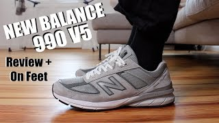 NEW BALANCE 990V5 REVIEW + ON FEET.....MORE COMFORTABLE THAN BOOST AND REACT?