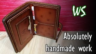 Making men's leather wallet | Handmade
