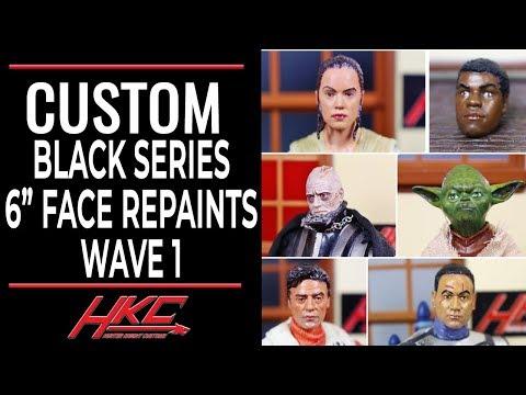 Custom Black Series face repaints REY FINN POE JANGO FETT YODA & VADER by HKC