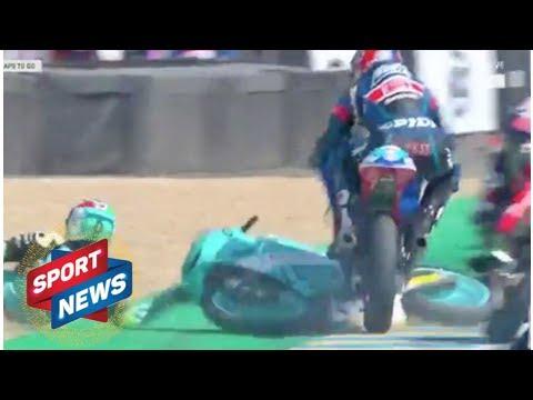 WATCH FrenchGP spectacular Moto3 video as Jakub Kornfeil JUMPS over crashed bike
