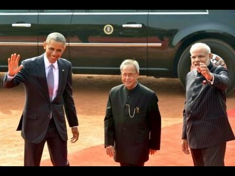 PM Modi with President Obama at Ceremonial Reception, Rashtrapati Bhavan