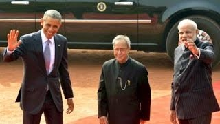 PM Modi with President Obama at Ceremonial Reception, Rashtrapati Bhavan