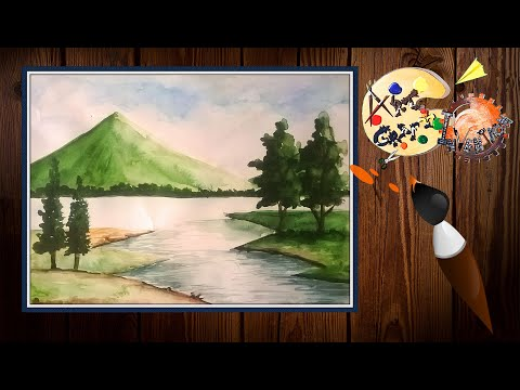 MOUNTAIN HILLS SCENERY PAINT WITH ARTIST COLOUR. BY ART CRAFT INVENTION...